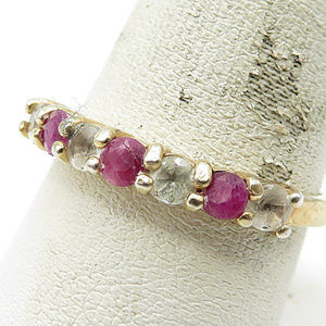 18K Gold & 925 Silver Ruby White Topaz Band Ring 9